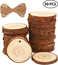 Fuyit Natural Wood Slices 30 Pcs 2.4-2.8 Inches Craft Wood kit Unfinished Predrilled with..