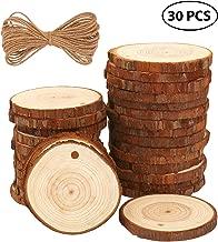 Rodajas de Madera Círculos 6-7 cm 30 pcs Fuyit Discos de Madera Rebanada 10m Cuerda de Cáñamo Maderas Naturales Perforado Con Corteza de Árbol Para Manualidades