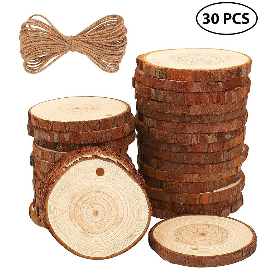 Fuyit Natural Wood Slices 30 Pcs 2.4