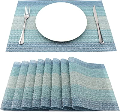 Amazon Com Pauwer Placemats Set Of 8 For Dining Table Washable Woven Vinyl Placemat Non Slip Heat Resistant Kitchen Table Mats Easy To Clean Home Kitchen
