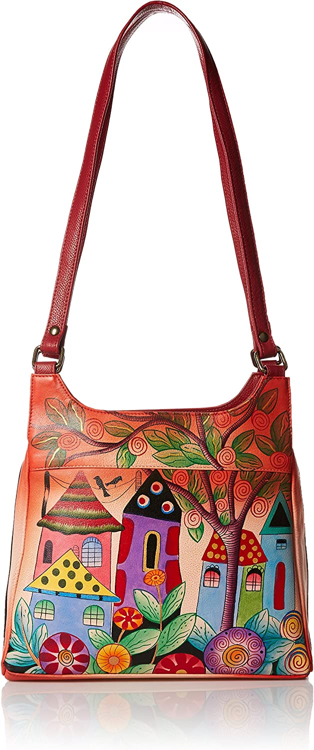 Anna by Anuschka Genuine Leather Triple Compartment Satchel   Hand Painted Original Artwork
