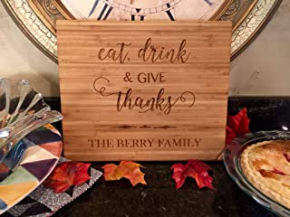 Personalized Cutting Board for Wedding Gifts - Wood Cutting Boards, Also Bridal Shower and Housewarming Gifts (11 x 13 Single Tone Bamboo Rectangular, Thanksgiving Give Thanks Design)