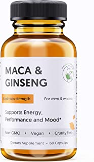 Organic Maca Root and Ginseng Energy Pills - 100% Pure Non-GMO - Vegan Energy Supplement Capsules for Men & Women - Suppor...