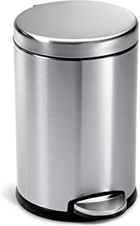 simplehuman, Brushed Stainless Steel 4.5 Liter / 1.2 Gallon Round Bathroom Step Trash Can