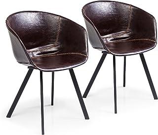 Kare Lounge Fauteuil, Cuir synthétique, Marron, 53 x 60 x 77 cm