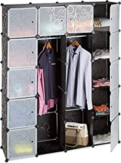 Relaxdays Étagère cubes rangement penderie armoire 14 compartiments plastique 2 tringles modulable, Plastique, Noir, 36.5 ...