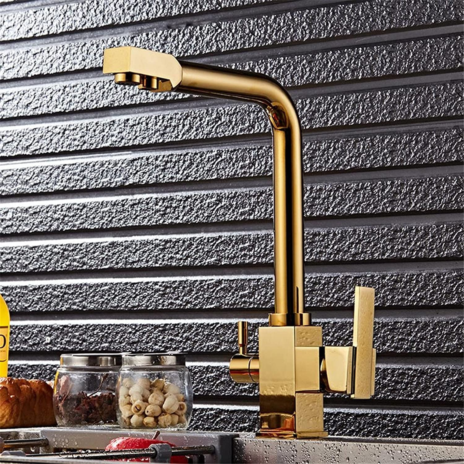 Bijjaladeva Antique Kitchen Sink Mixer Tap gold hot and Cold Water Purifier Kitchen Faucet Sink Mixer redation Out of The Water.