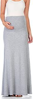 My Bump Women's High Waisted Floor Length Maternity Maxi Skirt with Tummy Control(Made in USA)