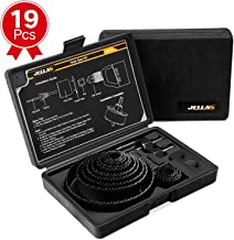 """Hole Saw Kit, JELLAS 19Pcs 3/4""""-5"""" Holesaw set(Include 1"""" and 1 3/8"""") in Hard Box, 2 Mandrels, 1 Installation Plate, 1 Hex Key, Durable and Cut Precise Holes for Soft Wood, PVC Board and Plastic"""