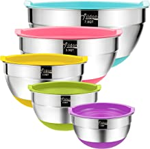 Mixing Bowls with Airtight Lids, Wildone Stainless Steel Nesting Mixing Bowls Set of 5, with Non-Slip Colorful Silicone Bo...