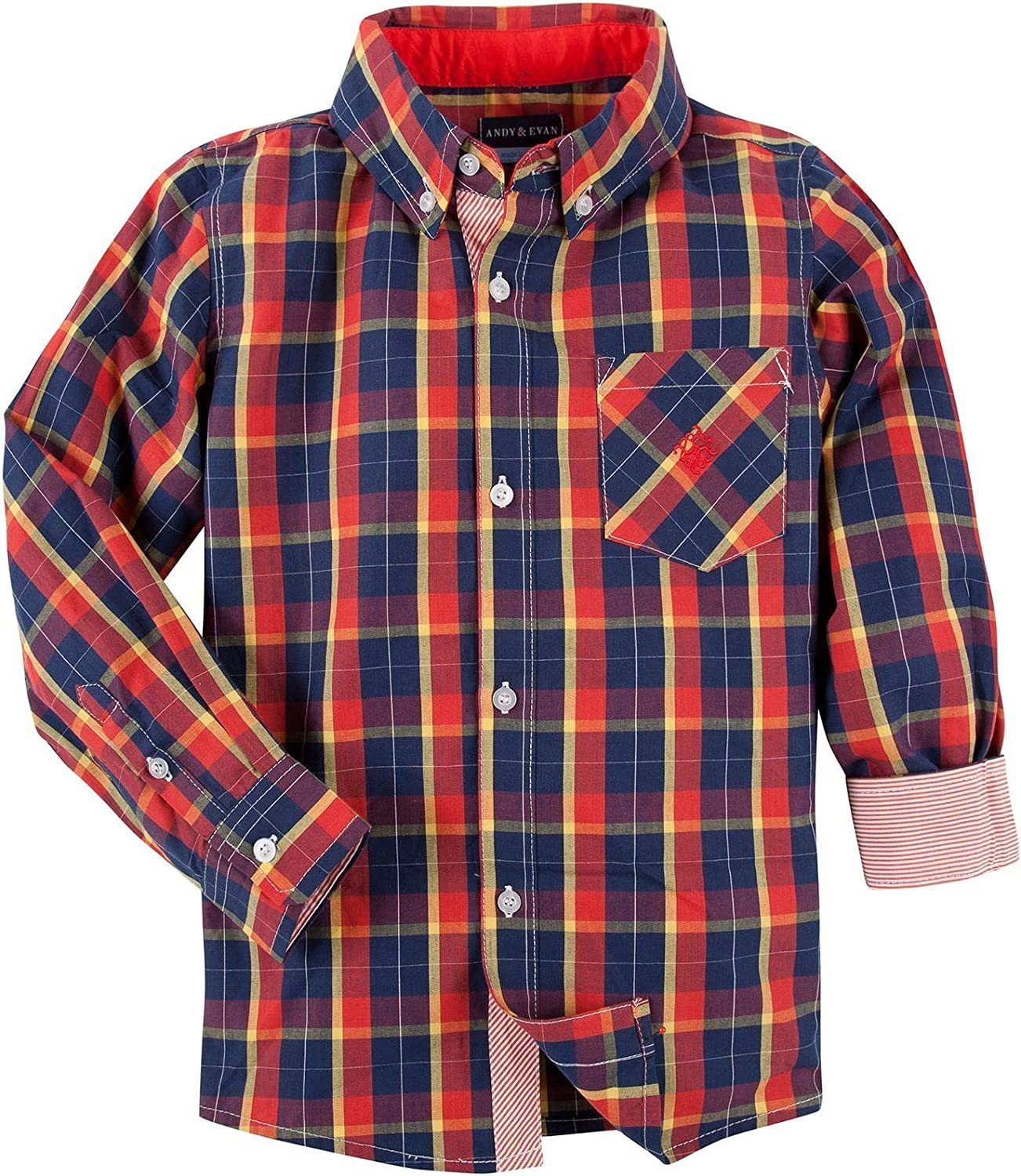 Andy & Evan Little Boy's Plaid Shirt (Toddler/Kid) - Red - 6