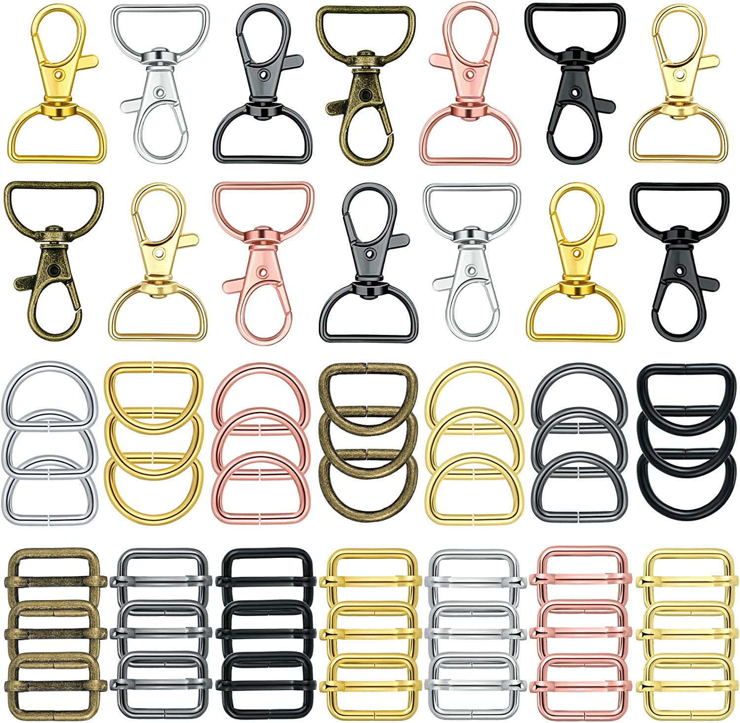 56 Pieces Keychain Hooks with D Rings Set Purse Hardware for Bag