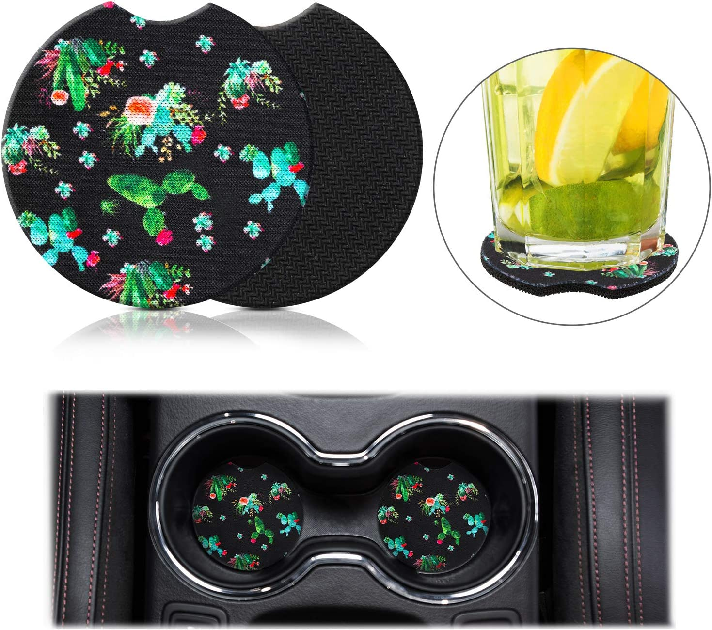 2 Pieces 2.56 Inch Car Coasters Drink Neoprene Coaster Car Cup Holder Rubber Car Cup Pad Mat Absorbent Coaster for Car Living Room Kitchen Office Cactus with Black Background
