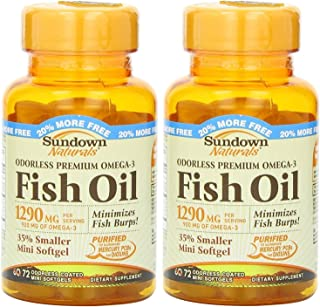 Sundown Naturals Naturals Odorless Premium Omega-3 Fish Oil, 72 Softgels (Pack of 2) Total 144