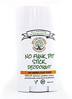 No Funk Pit Stick™ All Natural Deodorant, Aluminum Free, Gluten Free, Vegan, 24 hour odor protection; with zinc oxide, Bentonite clay and essential oils