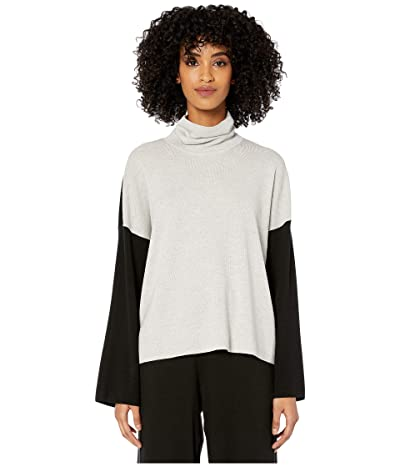Eileen Fisher Merino Turtleneck Box Top (Pearl) Women