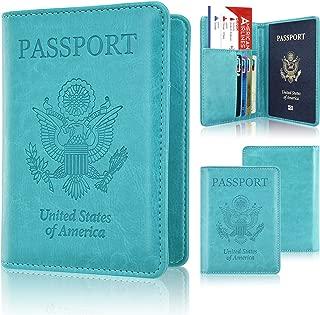 Leather RFID Blocking Wallet Case Bag for Family Travel Passport Holder,