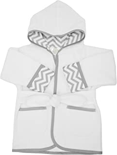American Baby Company Baby Bathrobe Made with Organic Cotton, White/Gray, 0-9 Months