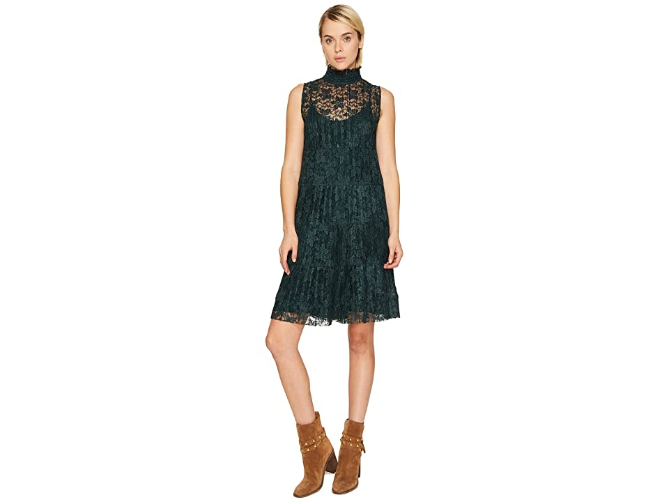See by Chloe Lace and Pleats Dress (Deep Forest) Women