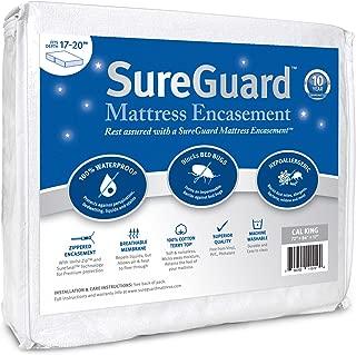 Cal King (17-20 in. Deep) SureGuard Mattress Encasement - 100% Waterproof, Bed Bug Proof, Hypoallergenic - Premium Zippered Six-Sided Cover - 10 Year Warranty