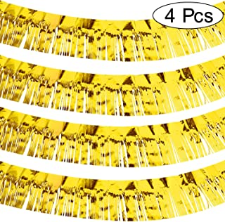 4 Packs 10 Feet Foil Fringe Garland Metallic Foil Tinsel Fringe Garland Wall Hanging Fringe Banner for Wedding Birthday Parties Holiday Decorations and More (Gold)