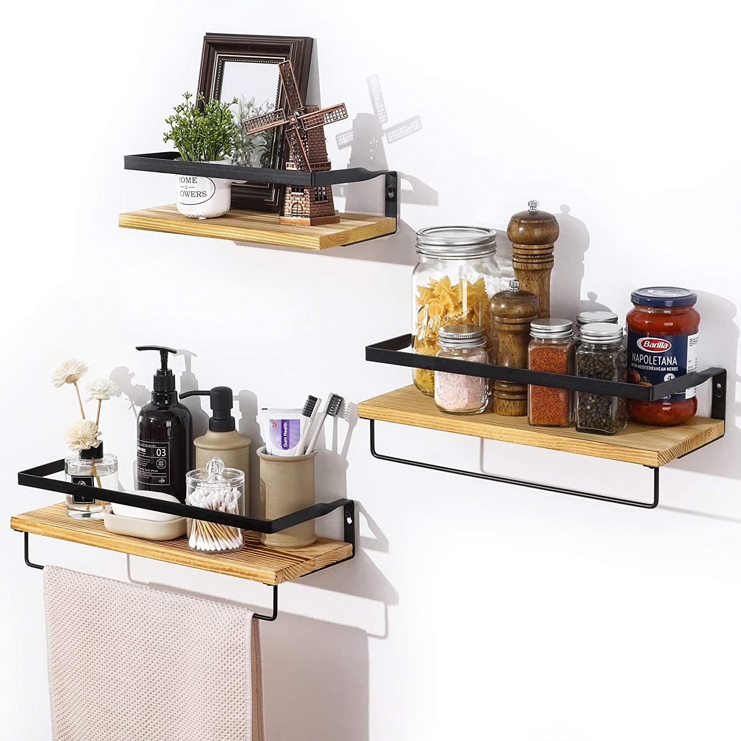 Brown 3 Set Pre-Installed Floating Shelves Wall Mounted Storage Wood Shelf with Towel Rack Over Toilet Office Rustic Decor Accessories for Bathroom Bedroom Kitchen