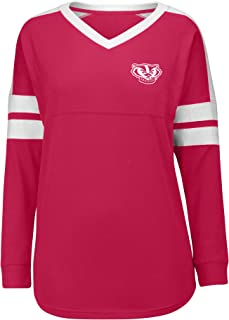 J America NCAA Wisconsin Badgers Women's Gotta Have It Cheer Tee, Large, Red/White
