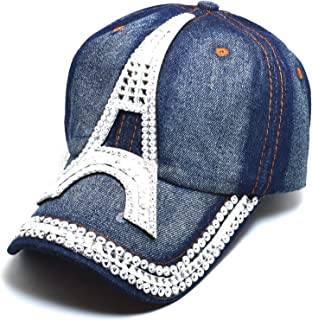 AblessYo Denim Hats Rhinestone Studded Sparkly Bling Baseball Cap Women AYO1099