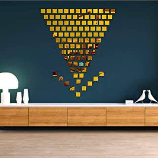 Best Decor 100 Chips Square Golden Code 622 Acrylic Mirror 3D Wall Sticker Decoration for Kids Room/Living Room/Bedroom/Of...