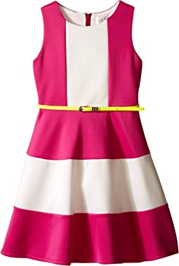 Scuba Tank Dress w/ Color Block & Full Skirt (Big Kids)