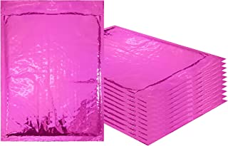 Amiff Bubble mailers 7.25 x 11. Padded envelopes 7 1/4 x 11. Exterior size 8x12 (8 x 12). Peel & Seal. Glamour Metallic foil. Mailing, shipping, packing, packaging. Pack of 10 Pink envelopes.