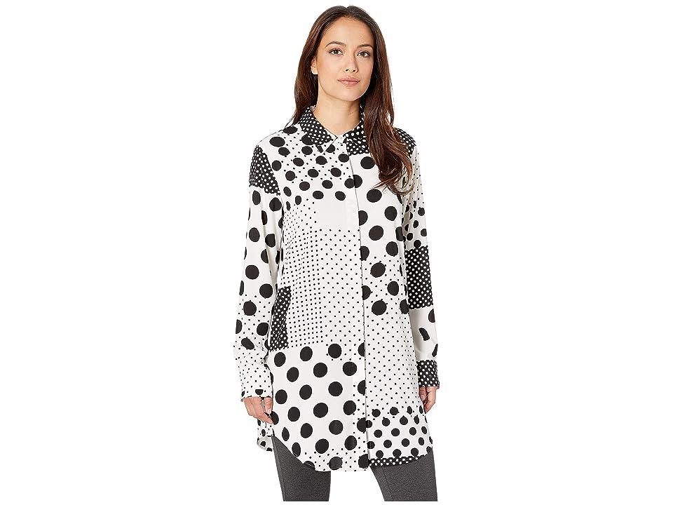 Calvin Klein Long Sleeve Woven Pullover (Black/Cream) Women