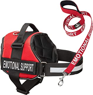 Emotional Support Dog Vest Harness With Reflective Straps, Interchangeable Patches, and Matching ESA Leash Set - ESA Dog Vest in 7 Adjustable Sizes - Heavy Duty Vests for Working or In Training Dogs