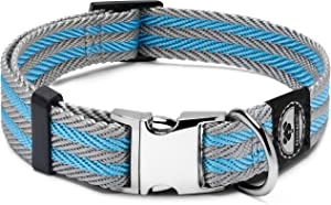Pet Collar with Metal Buckle and D Ring | Durable Dog Collar with Reinforced Metal Clasp and Nylon Webbing Adjustable Dog Collar to fit Small Dog or a Puppy (Medium, Blue / Gray Stripe)