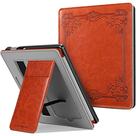 CaseBot Stand Case for All-New Kindle Oasis (10th Generation, 2019 Release and 9th Generation, 2017 Release) - Premium PU Leather Sleeve Cover with Card Slot and Hand Strap, Vintage Brown