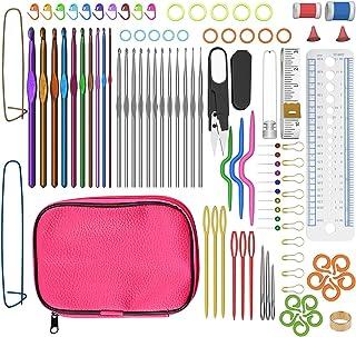 Tospanic - Ensemble d'accessoires à tricoter avec crochets en aluminium (100 pièces) et étui en cuir