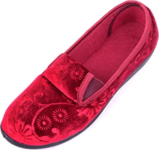 ABSOLUTE FOOTWEAR Woments Smooth Velour Style Slippers/Shoes with Floral Design