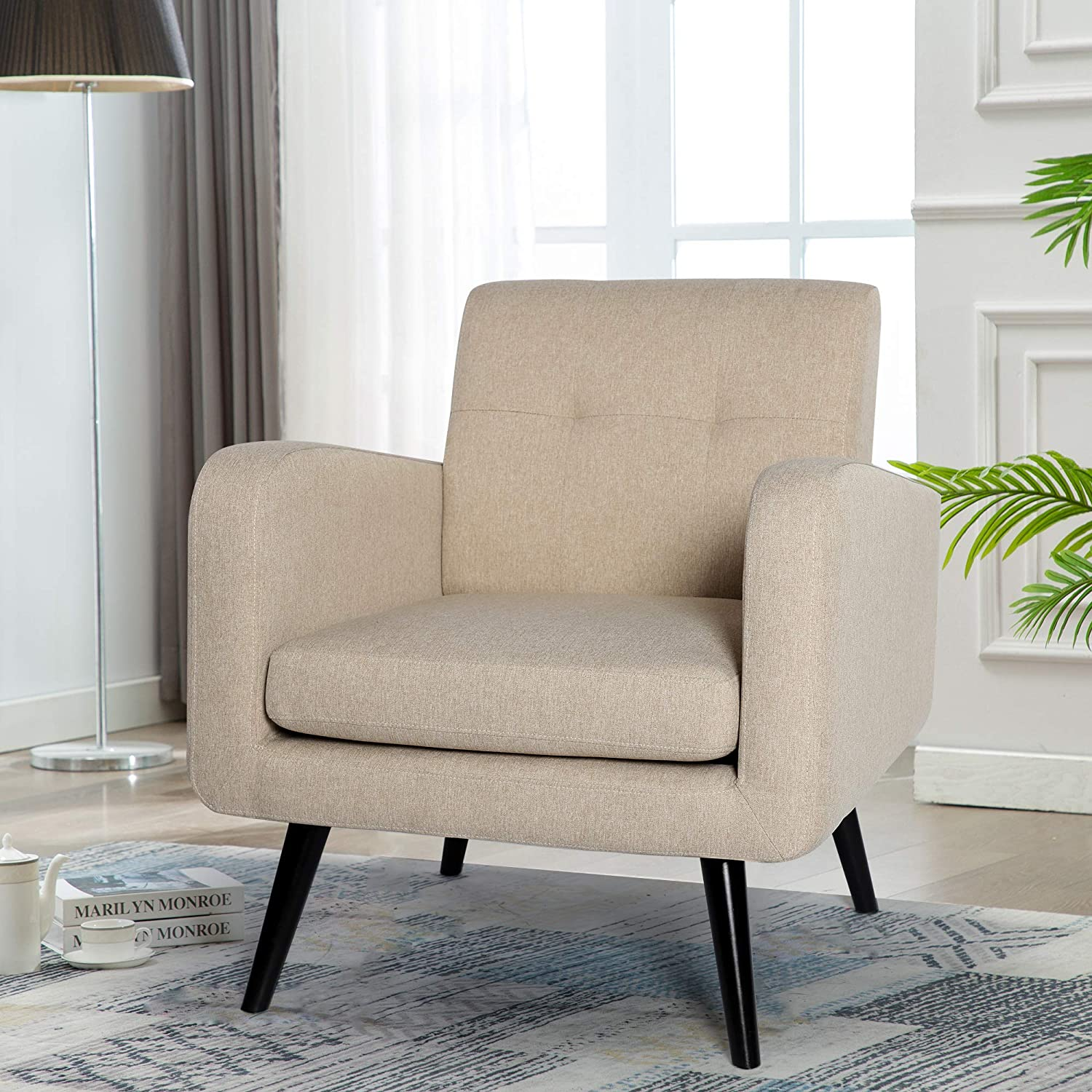 Buy Mid Century Modern Fabric Arm Chairs for Living Room, Living ...