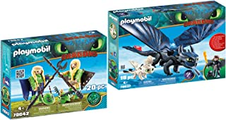 Playmobil Ruffnut and Tuffnut with Flight Suit and Hiccup and Toothless with Baby Dragon