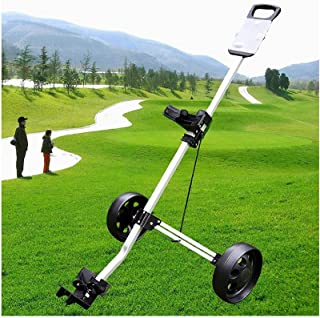 Golf Push Cart Golf Push Cart, 2 Wheel Golf Cart Swivel One Second Folding Golf with Multifunction Scoreboard, Push Pull G...