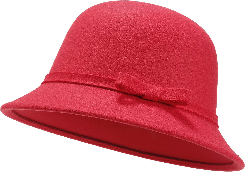 Women Felt Hat, Bucket Hat, Adjustable Vintage Bowler Suede Wool Hat with Bowknot