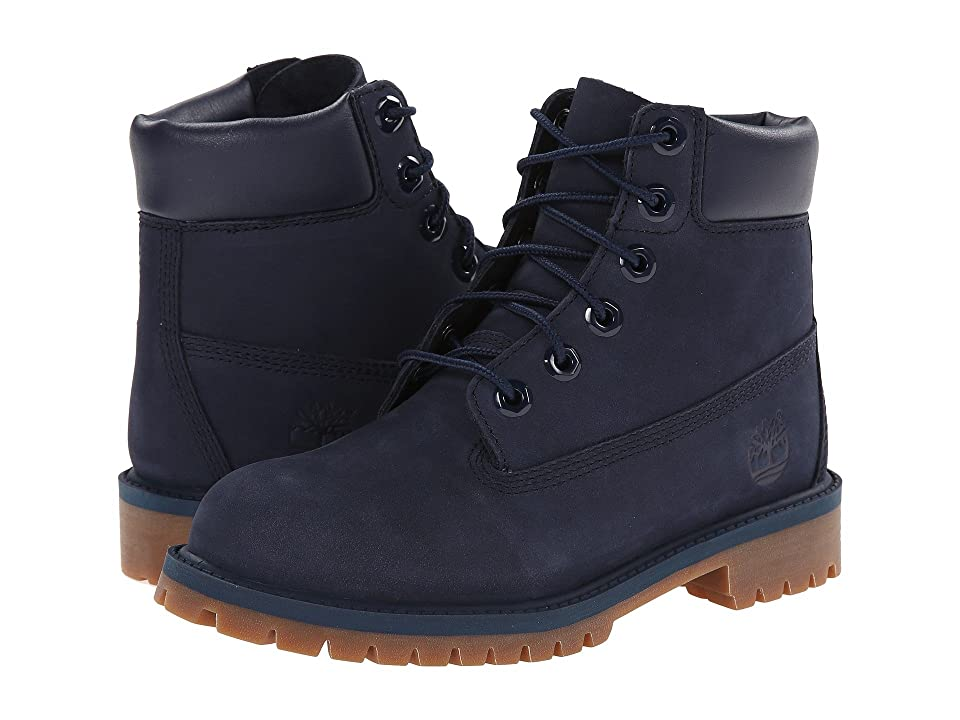 Timberland Kids 6 Premium Waterproof Boot Core (Big Kid) (Navy Nubuck) Boys Shoes