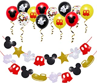 Mickey Mouse Birthday Garland Banner Decorations for Mickey Theme Clubhouse Party Kids 1st Birthday Favor Mickey Glitter G...