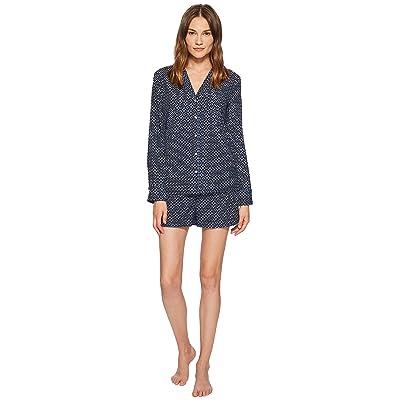 Stella McCartney Poppy Snoozing Long PJ Shirt (Navy Tie Print) Women