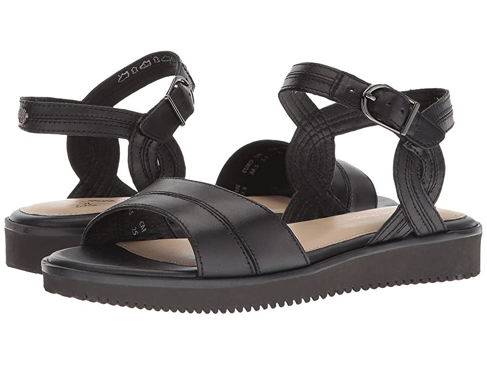 Hush Puppies Briard Quarter Strap (Black Leather) Women
