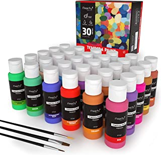 Washable Paint for Kids, Magicfly 30 Colors (2 oz Each) Liquid Tempera Paints Assorted Colors Non-Toxic Kids Paint with Fluorescent Glitter Metallic Neon Colors for Finger Painting, Hobby Painters