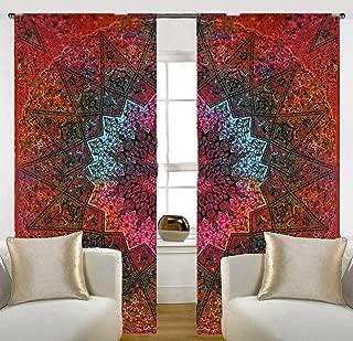 RATANA Multi Tie dye Star Mandala Bedroom Window Curtains Indian Drape Balcony Room Decor Curtain Boho Set Tapestry Curtains Drapes & Valances Bohemian