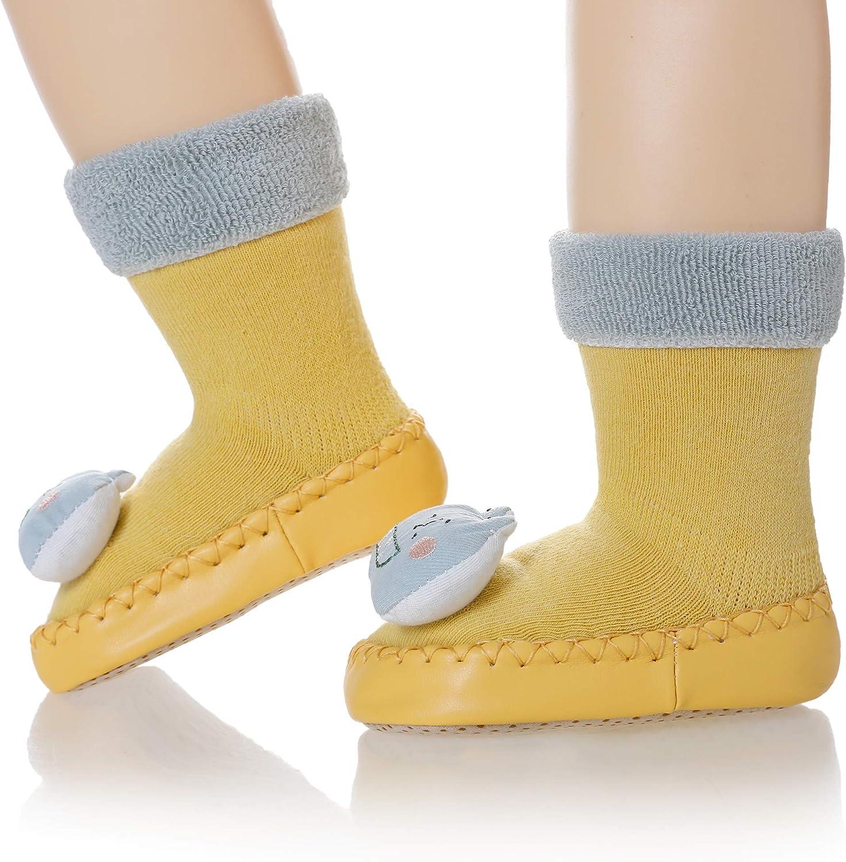 Eocom Baby Boy Girls Toddlers Moccasins Non-Skid Indoor Slipper Shoes Socks