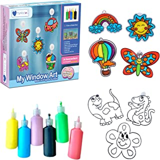 Mumfactory Window Art Paint Toy for Kids - Create your own 24 Suncatchers with 24 Suction Cups - Assorted 9 Colors paints...