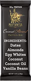 Pottentia Whole Food Paleo Protein Bar, 20 Grams Protein, Coconut Almond, Dairy Free, Egg White, Gluten Free, 6 Ingredients, 8 Large 86 Gram Bars, High Fiber, No GMO, No Soy